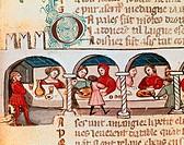 A banquet, miniature, Veneto, Italy 14th Century.  Venice, Biblioteca Nazionale Marciana (National Library)