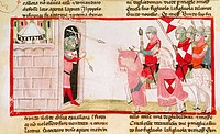 Guelfs block Ghibellines from re-entering the city, miniature from the Cronica (Chronicles) by Giovanni Villani, manuscript, Italy 14th Century.  Citt...