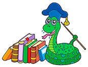 Snake teacher with books _ isolated illustration.