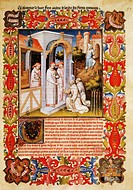 Friar Odoric from Pordenone and his travelling companion James of Ireland take their leave of Pope John XXII, miniature from Livre des merveilles du m...