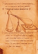 Research of the fifth essence, miniature from Alchemical Discourse, Latin manuscript, 15th Century.  Padova, Biblioteca Universitaria (Univercity'S Li...