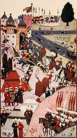 Sultan Mehmed II attacking Belgrade in 1389, Ottoman miniature, Turkey 14th Century.  Istanbul, Topkapi Sarayi Muzesi (Topkapi Museum)