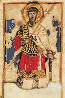 Saint Theodore, byzantine miniature from the Lives of the Saints (Vita dei Santi), Greek manuscript, 12th Century.  Messina, Biblioteca Regionale Univ...