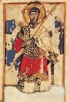 Saint Theodore, byzantine miniature from the Lives of the Saints (Vita dei Santi), Greek manuscript, 12th Century.  Messina, Biblioteca Regionale Univ...