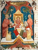 Jesus among the doctors in the temple, miniature by Turone (active ca 1360), Italy 14th Century.  Verona, Biblioteca Capitolare