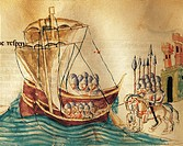 Knights boarding a ship to go to war, miniature from a Codex of Veneto, Italy 14th Century.