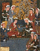 Safavid Persian prince at court, miniature from a Persian manuscript, 1650.  Cairo, Islamic Art Museum