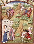 Seleucus and Antiochus, miniature from the Book of Noble Cases by Giovanni Boccaccio, manuscript, folio 154, France 15th century.  Chantilly, Château,...