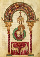 The Easter lamb, miniature from Apollo Medicus, Etymology by Saint Isidore, Italy 9th Century
