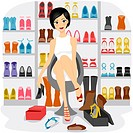 Illustration of a Girl Fitting Shoes in her Shoe Closet or a Shoe store_ eps8
