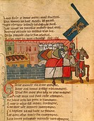 Knights departing, miniature from the Entree d'Espagne manuscript, 14th Century.  Venice, Biblioteca Nazionale Marciana (National Library)