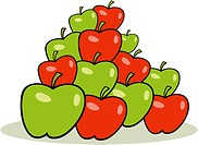 illustration of heap of red and green apples