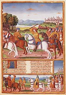 The Folly of Charles VI, miniature from The chronicles of Enguerrand de Monstrelet, France 15th Century.  Chantilly, Château, Musée Condé (Picture Gal...