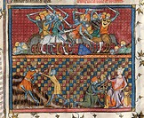 Book of Kings: Knights' battle and the death of a king, miniature from Guyart des Moulins and Peter Comestor's Bible, manuscript folio 166 recto, end ...