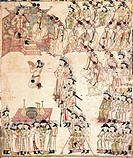 The Emperor and Empress receiving Tabiz Palace, painting by the Universal History of the Mongols (Jami al-tawarikh), Mongolia, 14th Century.  Istanbul...