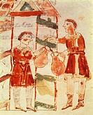 Wine merchant,miniature from De universo by Rabano Mauro, manuscript, Italy 11th Century.  Montecassino, Biblioteca Statale Del Monumento Nazionale Di...