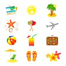12 Vacation And Travel Icons, Isolated On White Background, Vector Illustration