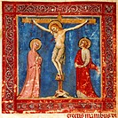 Jesus' crucifixion, miniature from the Missal of the Order of Friars Minor, Latin Manuscript, 14th Century.  Perugia, Biblioteca Capitolare (Library)