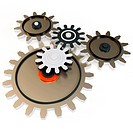 3d various metallic cogs on white background