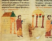 A monk hunting the Devil from a church towards a pagan temple, miniature from De universo by Rabano Mauro, manuscript, Italy 11th Century.