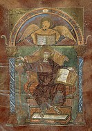 Saint Mark, from the Gospel of Saint Riquier, or the the Gospel of Charlemagne, manuscript, France ca 800.  Abbeville, Bibliothèque Municipale (Librar...