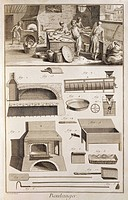 Plate showing bakers, oven and tools. Engraving from Denis Diderot, Jean Baptiste Le Rond d'Alembert, L'Encyclopedie, 1751-1757. Entitled Boulanger (B...