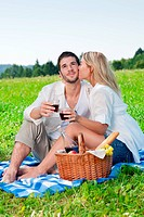 Picnic _ Romantic happy couple celebrating with wine in sunny nature