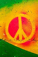 Highly detailed close up image of a grunge peace sign grafitti.