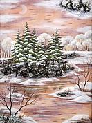 Handmade, drawing distemper on a birch bark: winter siberian landscape