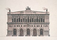 Plan of the neo_classical facade of St Charles Theatre Teatro San Carlo in Naples, by Antonio Niccolini 1772_1850, Italy, 19th Century