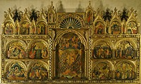 Polyptych of the Coronation of the Virgin Mary, Stories of Jesus and Stories of St Francis, by Paolo Veneziano active 1333_1358