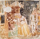 The sending of ambassadors from the King of England, detail from the Stories of St Ursula, by Tommaso da Modena (1326-1379), fresco. Treviso, Church o...