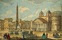 Round Square (Piazza della Rotonda) and fountain and the Pantheon in Rome, Italy 18th Century.