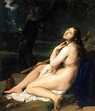 Penitent Saint Mary Magdalene, 1825, by Francesco Hayez (1791-1882), oil on canvas, 131.5x112.6 cm.  Private Collection