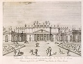 Stables at the bottom of the gardens of Villa Pisani in Stra, by Gianfranco Costa (1711-1772), from The Delights of the River Brenta, 1750-1762, Italy...
