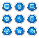 Electronics web icons set 1, blue buttons