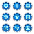 Electronics web icons set 1, blue buttons