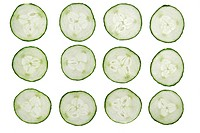 12 cucumber slises isolated on white