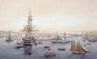 The port of Havana, by Lebreton, Cuba 19th Century. Engraving.