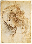 Study of a female face, 1468-1475, by Leonardo da Vinci (1452-1519), pen, bistre and white lead, 28.2x19.9 cm.  Florence, Galleria Degli Uffizi (Uffiz...