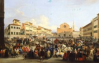 Carnival in the Square of the Holy Cross in Florence, by Giovanni Signorini (1808-1864), 1846, Italy 19th Century.