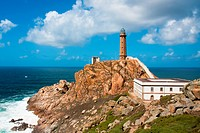 Lighthouse Cabo Vilan on the atlantic Ocean in Galicia, Spain