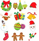 A vector illustration of a collection of Christmas icons