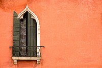 Traditional window of hotel at Piazza San Marco, Venice