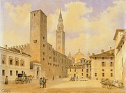 Square of Peace in Cremona, by Carlo Gilio Rimoldi (1787-1841), Italy 19th Century.  Cremona, Museo Civico Ala Ponzone (Art Museum)