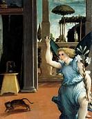 The Recanati Annunciation, ca 1532, by Lorenzo Lotto (1480 ca- 1556), oil on canvas, 166x114 cm. Detail.  Recanati, Pinacoteca Comunale (Art Gallery)