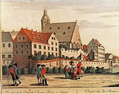Germany, 18th century. Leipzig, Thomasschule (Thomas School) in 1794.  Leipzig, Bachmuseum