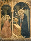 The Annunciation, a fresco by an unknown artist of the Foligno School, 15th Century.  Foligno, Pinacoteca Comunale (Art Museum, Frescoes)