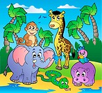 African beach with cute animals _ color illustration.