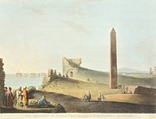 The Obelisk (Cleopatra's Needle) in Alexandria, 1804, by Luigi Mayer, Egypt 19th Century. Engraving.  Paris, Bibliothèque Des Arts Decoratifs (Library...